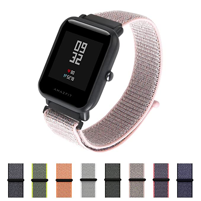 Amazon.com: Nylon Sport Loop Band SIKAI 20mm Replacement Nylon Strap Compatible with Amazfit Bip/Huawei Watch 2 Sport/Ticwatch E Breathable with Hook and ...