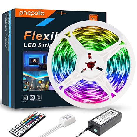Phopollo Led Strip Lights 16 4ft Rgb Color Changing 5050 300leds Waterproof Flexible Led Tape Light Kit With 44 Key Ir Remote Controller And 12v