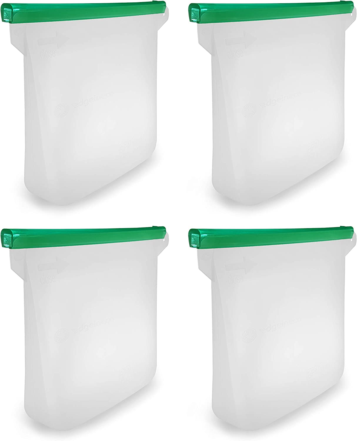 Edgeineco 4-pack Reusable Silicone Food Bag Airtight Seal Food Grade Preservation Multipurpose Bag Ideal for Food containers, Reusable Lunch bag, Organization set, Hot Cooking, Microwave, Steam Heat.