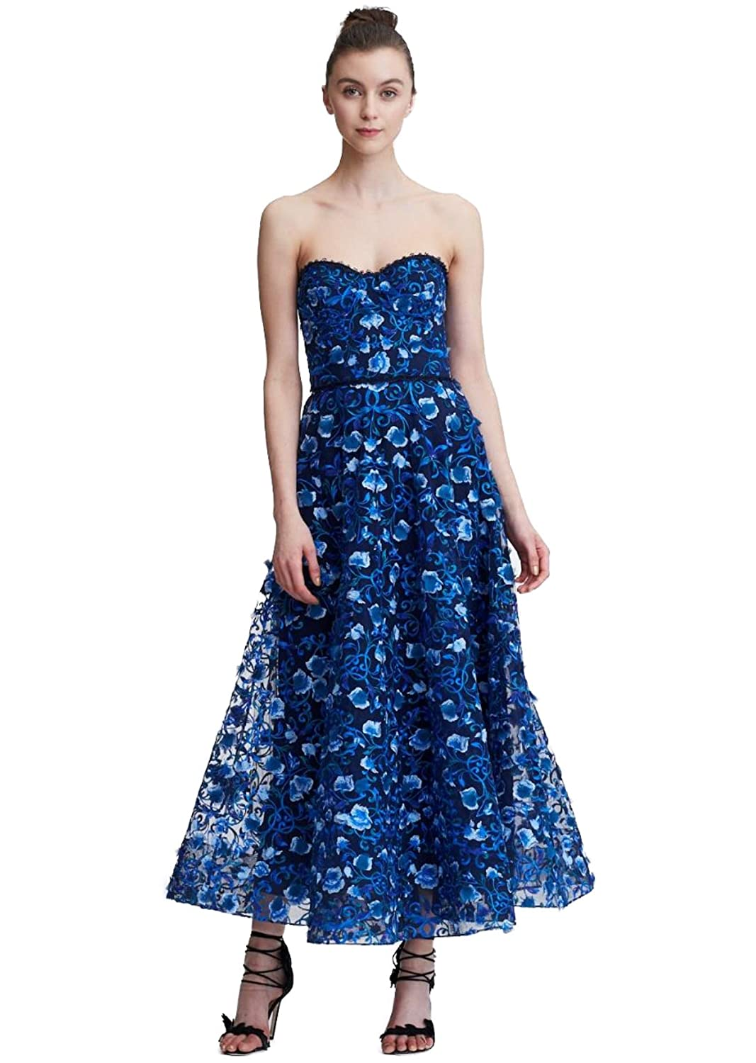 aa718c85f2b30 Marchesa Notte Women s Strapless Floral Embroidered Midi Dress 6 Navy at  Amazon Women s Clothing store