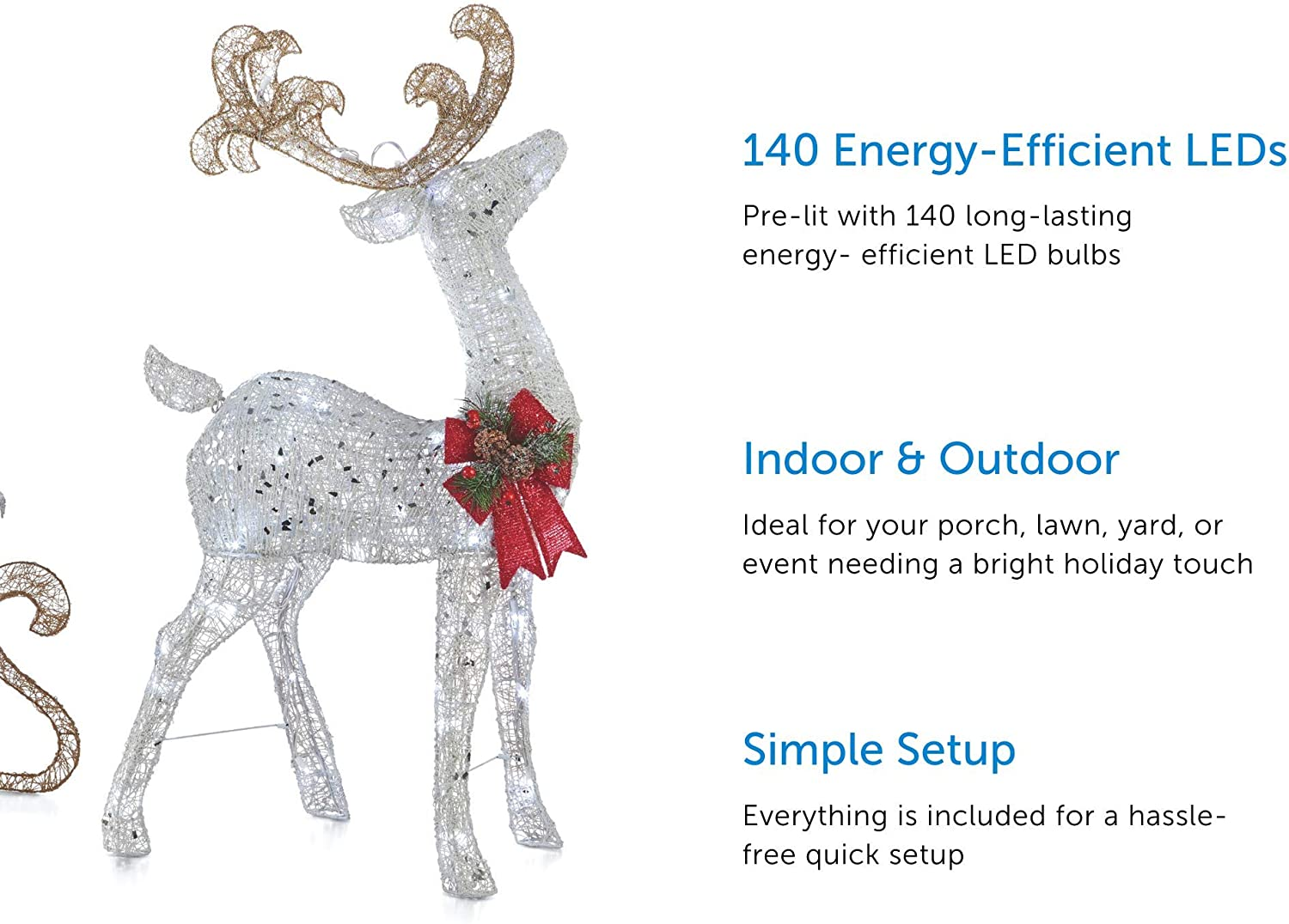 Doe Animated Large Xmas Outside Lighted Decor Animated Light Up Doe Lights White Party Garden Outdoor Winter Holiday Lawn Decoration Yard Art Christmas Doe Home Decor 40 Inches 105 Pre Attached Ligh