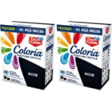 COLORIA Teinture pour Textiles Maxi Format avec Sel Inclus Noir 2 Sachets de 50 g/300 g - Lot de 2