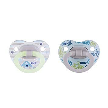NUK Glow-in-The-Dark Orthodontic Pacifiers, Boy, 6-18 Months, 2-Pack