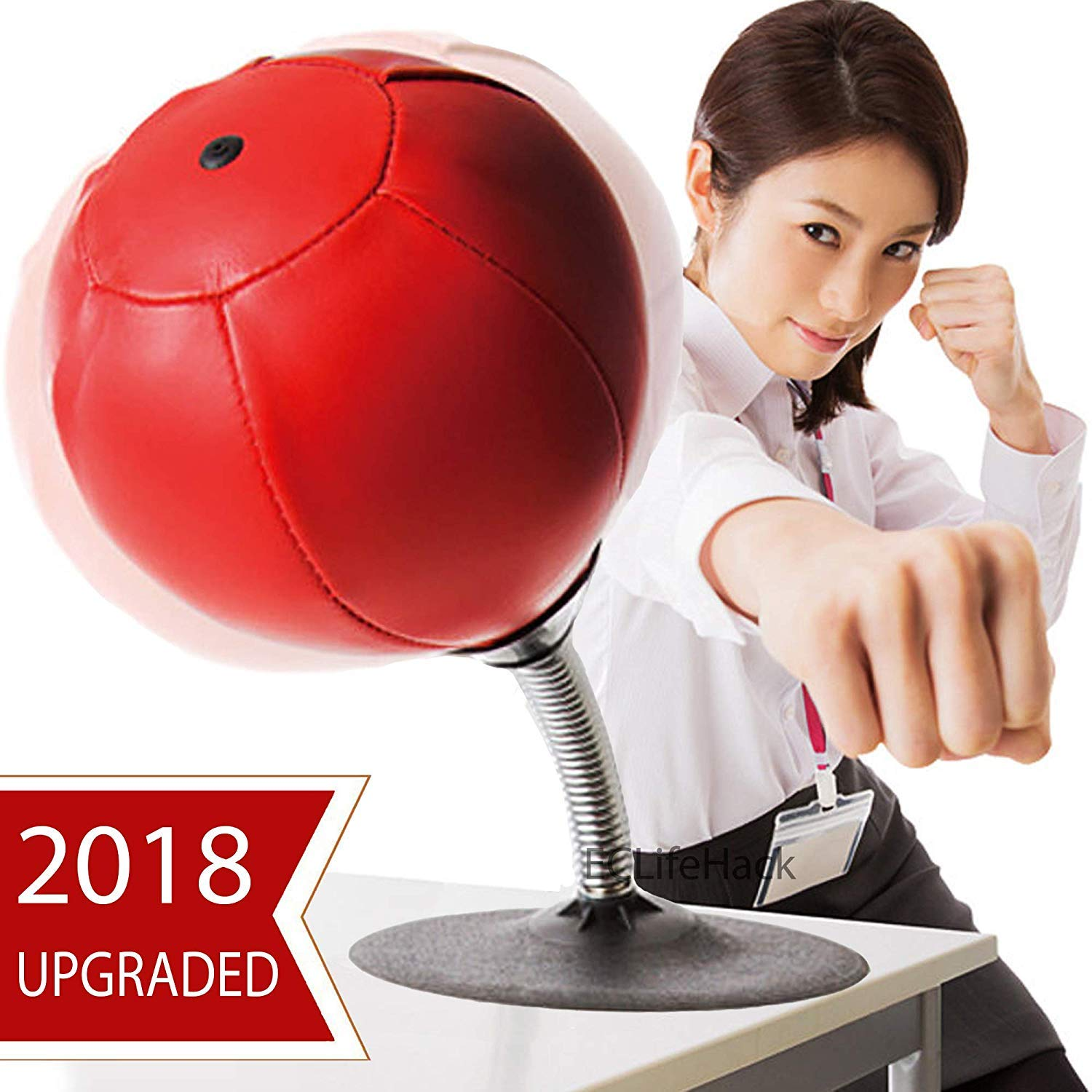 Simplistic Plus Stress Buster Desktop Punching Ball Super Strong Suction Cup, Pump Included – Just Punch Me!