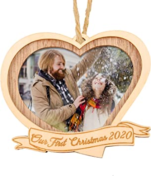 Creawoo Our First Christmas 2020 Wood Picture Frame