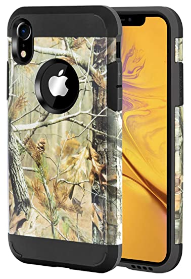 huge discount 7a337 ec208 iPhone XR Case Camo, iPhone XR Dual Layer Camouflage Tree Shockproof  Protective Case TPU Bumper Hard PC Back Case Cover Compatible Apple iPhone  XR ...