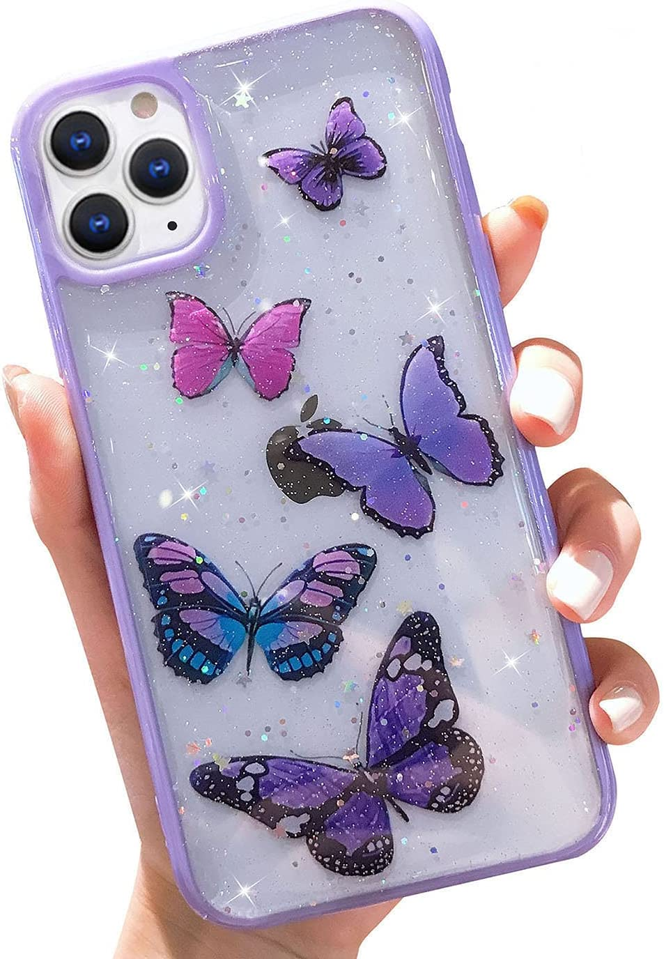 Butterfly Bling Clear Case Compatible with iPhone 11 Pro Max, wzjgzdly Glitter Case for Women Cute Slim Soft Slip Resistant Protective Phone Case Cover for iPhone 11 Pro Max 6.5 inch - Purple
