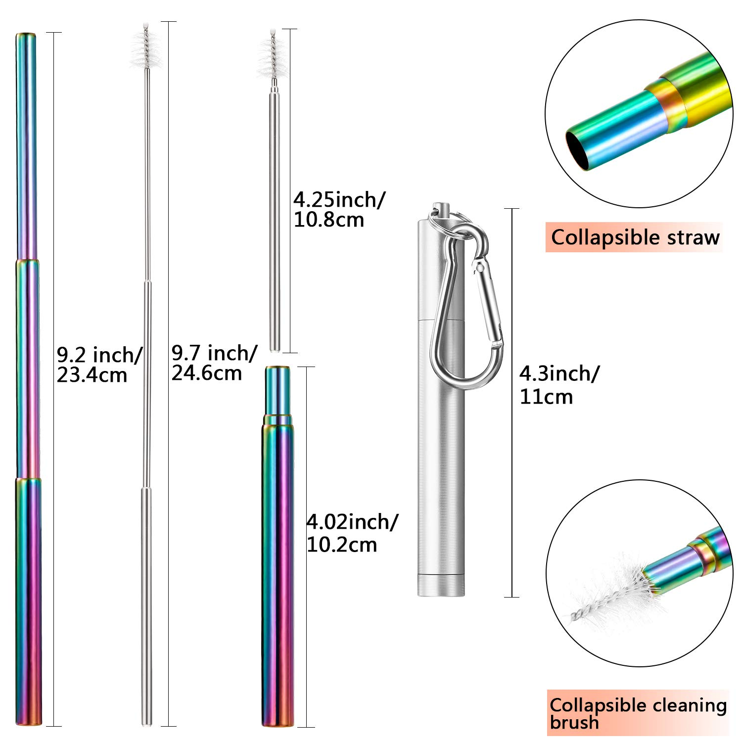 3 Pieces Portable Stainless Steel Straw Set Telescopic Reusable Drinking Straws Metal Straw with Cleaning Brush Stainless Steel Carrying Case and Keychain Silver