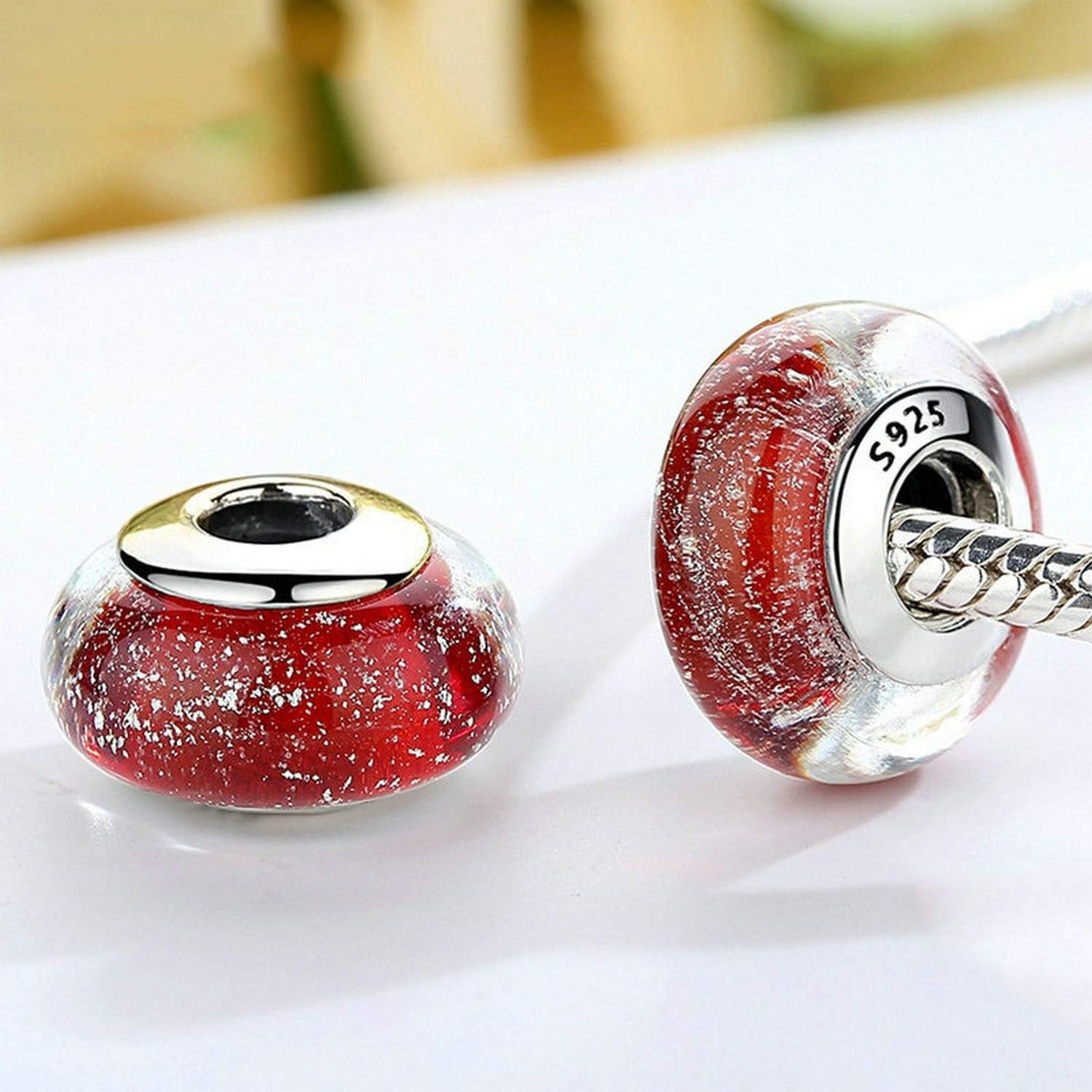 Evereena Silver Beads Bracelet for Girls Fashion Snow Whites Color Red Murano Glass Womens Jewelry