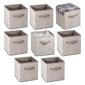 "mDesign Small Soft Fabric Closet Organizer Cube Bin Box - Front Handle - Storage for Closet, Bedroom, Furniture Shelving Units - Textured Print, 11"" High - 8 Pack - Linen/Tan"