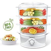 Aigostar Vaporiera 9 Litri BPA Free elettrica in acciaio inox con Timer, 3 cestini e ciotola, Fornetti a vapore da 800 W per riso, verdure, uovo e patate, Argento.