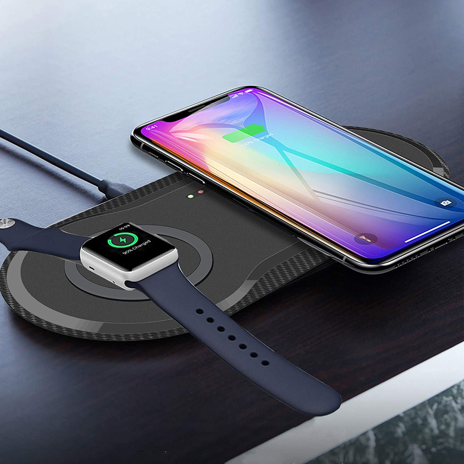 Finderomend 10W Dual Wireless Charger 2 in 1 Dual Wireless Charging Pad, Portable Charging Station, Compatible with iPhone 12 Pro Max/12 Mini/11/11 Pro Max/Se/Airpods Pro/2, All Qi-Enabled Phones