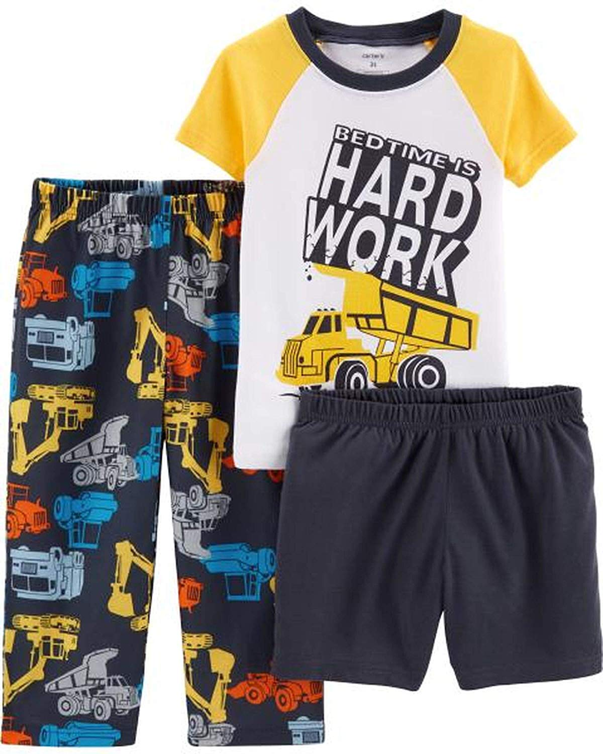 Carter's Boys' 3-Piece Firefighter Poly Pajama Sets (Construction/Hard Work, 5T) by Carter's