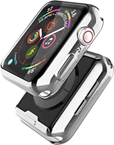 [2 Pack] Misxi Silver Case Compatible with Apple Watch SE/Series 6 / Series 5 / Series 4 Screen Protector 40mm, 2020 New iwatch Cover TPU Overall Protective Case (1 Silver+1 Transparent)