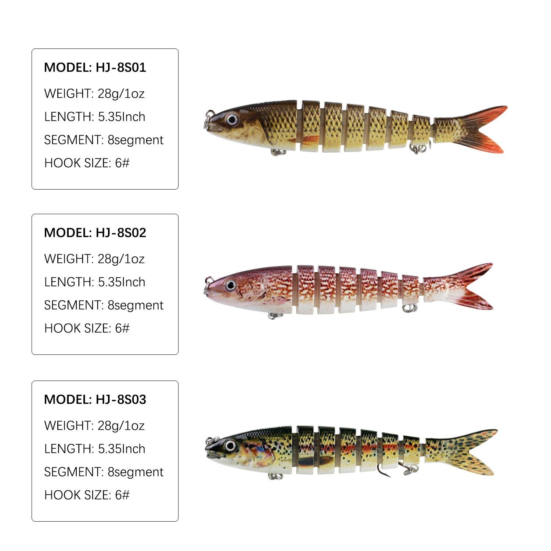 Modenpeak Multi Jointed Swim Bait Life-Like Fishing Hard Lure 5 Inch 1OZ 6Pcs by Modenpeak (Image #2)