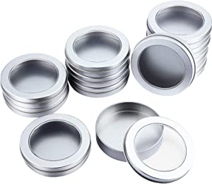 4 oz Metal Tin Cans Round Tin Containers Empty Tin Cans with Clear Top for Kitchen Office Candles Candies and Gifts Holding (12)