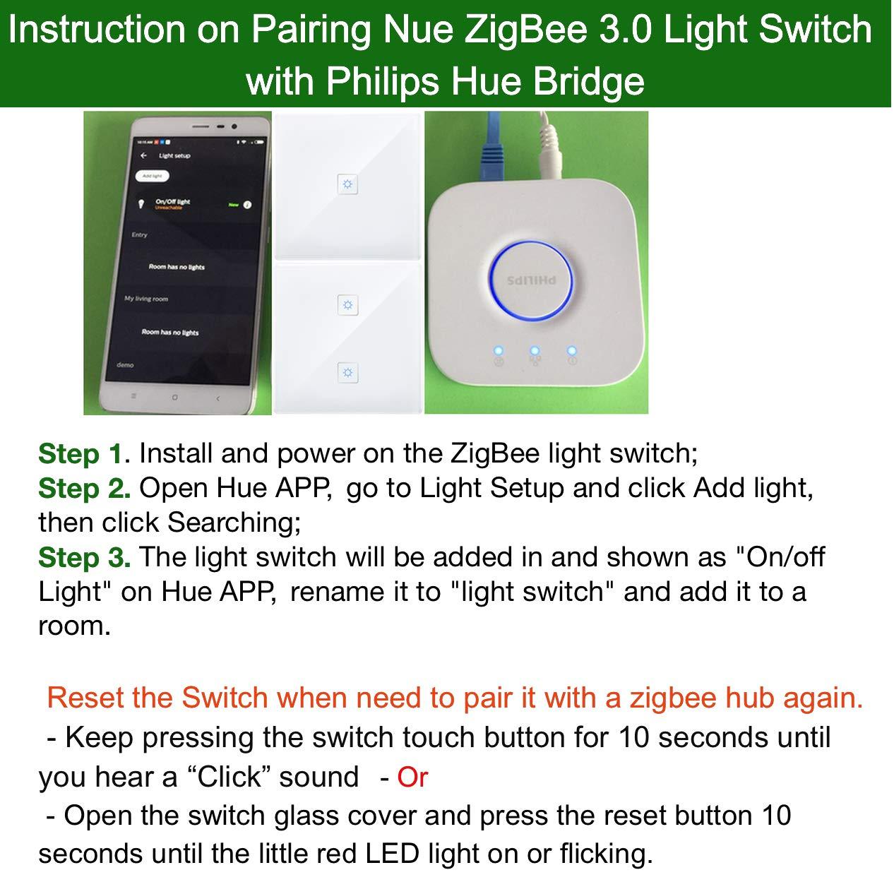 230V Smart ZigBee 2 Gang Light Switch for Echo Plus, SmartThings Hub,  Lightify ZigBee Hub to Control Normal Lights, LED Downlights Smart Home