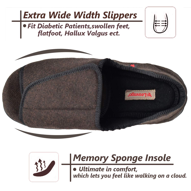 W/&Lesvago Mens Edema Slipper Compatible Swollen Feet,Arthritis/&Diabetic Slippers