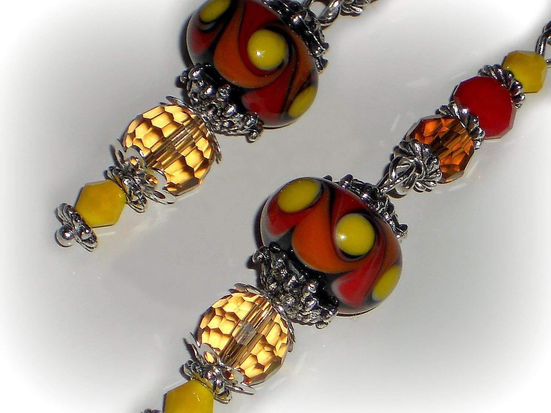 Red Skull /& Yellow Beaded Earrings
