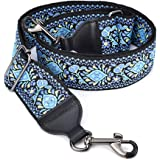 CLOUDMUSIC Purse Banjo Strap Guitar Strap For Handbag Purse Jacquard Woven With Leather Ends And Metal Clips(Blue…