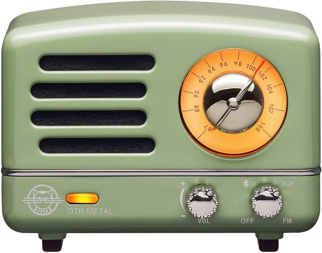 Muzen Portable Wireless High Definition Audio FM Radio Bluetooth Speaker, Metal Green with Travel Case – Classic Vintage Retro Design