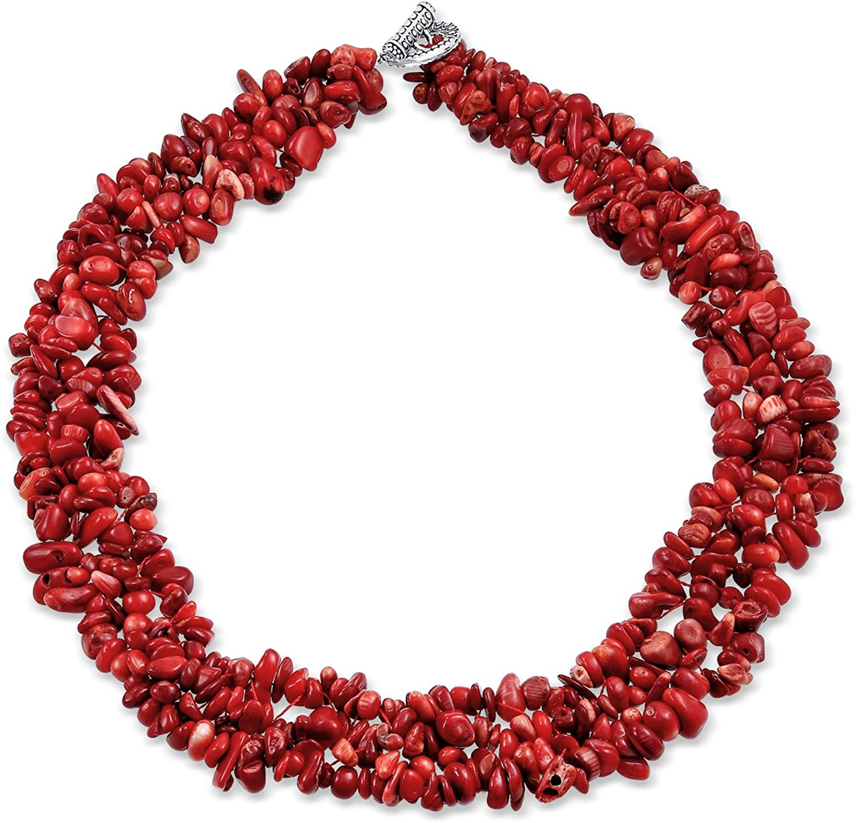 Bling Jewelry Teñidos De Rojo Coral Piedras Preciosa Chunky Cluster Bib Chips Multi Declaración Collares Broche Chapado En Plata