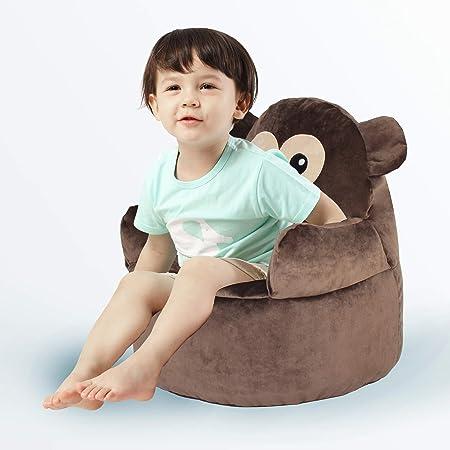 Bean Bag Chair – Memory Foam Furniture Bean Bag Baby Chair with Soft Micro Fiber Cover, Polyester, Animal Children s Sofa Unisex – Brown Monkey