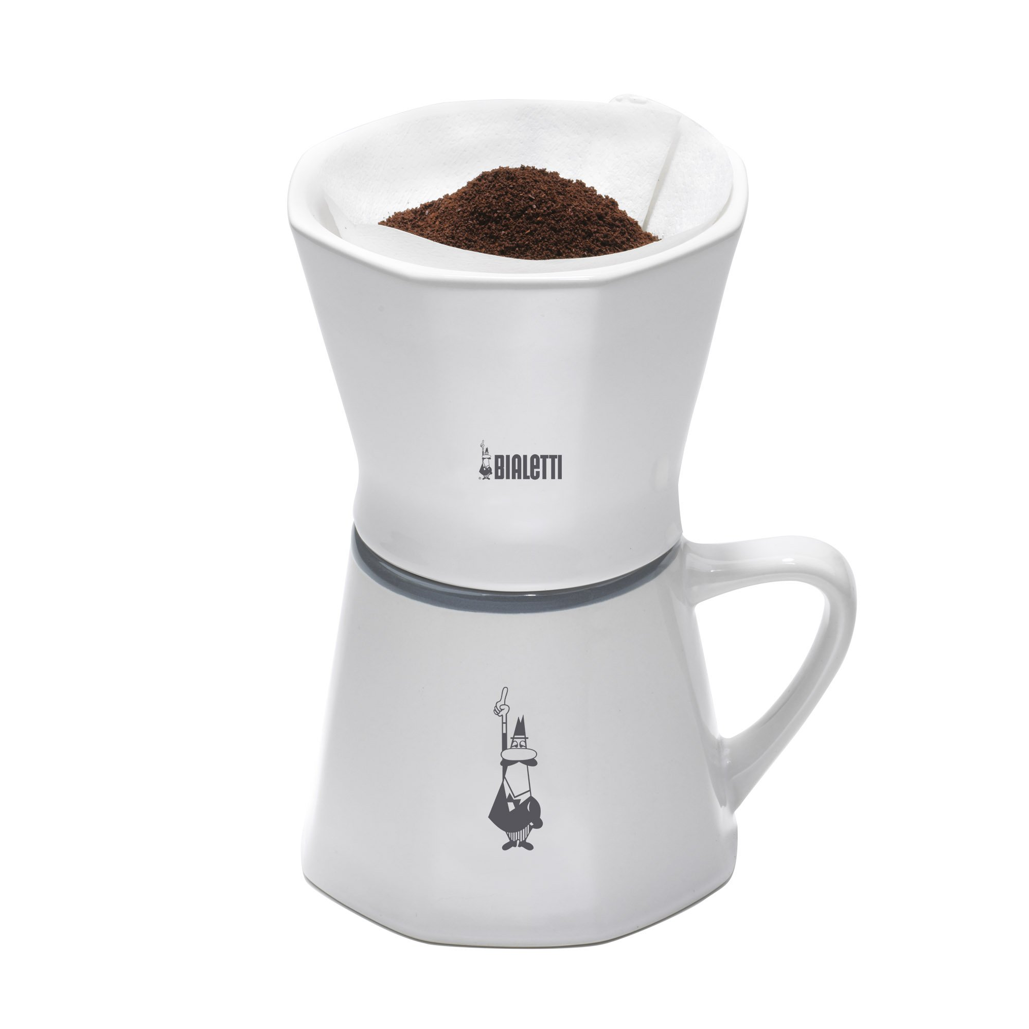 Bialetti 6750 2 Cup Porcelain Pourover Coffee Dripper with Mug, White