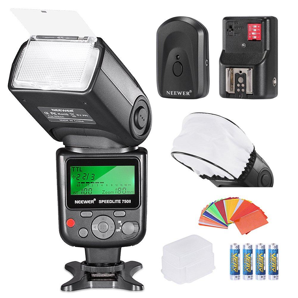 Neewer PRO i-TTL FlashDeluxe Kit for NIKON DSLR D7100 D7000 D5300 D5200 D5100 D5000 D3200 D3100 D3300 D90 D800 D700 D300 D300S D610, D600, D4 D3S D3X D3 D200 N90S F5 F6 F100 F90 F90X D4S D SLR Camera,Include:(1)Neewer 750II iTTL Flash For Nikon+(1)Univers