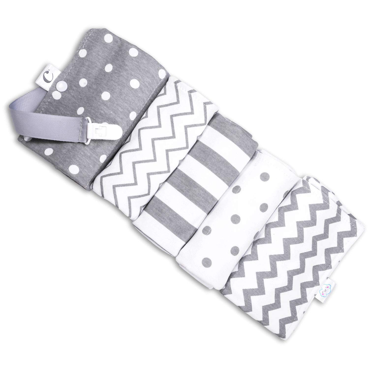 CuddleBug Baby Burp Cloths | Grey/White, Spots/Stripes, 16'' x 13'' 2 Ply, 5 Pack, 100% Organic Cotton Baby Burp Cloth | Baby Boy and Girl | Good Pair for Baby Clothes, Baby Onesies | Daily Essentials