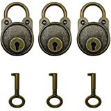 Hyamass 3pcs Vintage Antique Style Mini Archaize Padlocks Key Lock with Keys (Bronze)