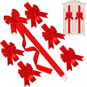 WILLBOND Christmas Cabinet Ribbons Bows Large Christmas Door Ribbon Cabinet Bows for Christmas Party Supplies (Red, 6 Pieces)