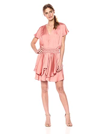723a87bc830c8 Amazon.com  Halston Heritage Women s Cap Sleeve V Neck Ruched Waist Flounce  Dress  Clothing