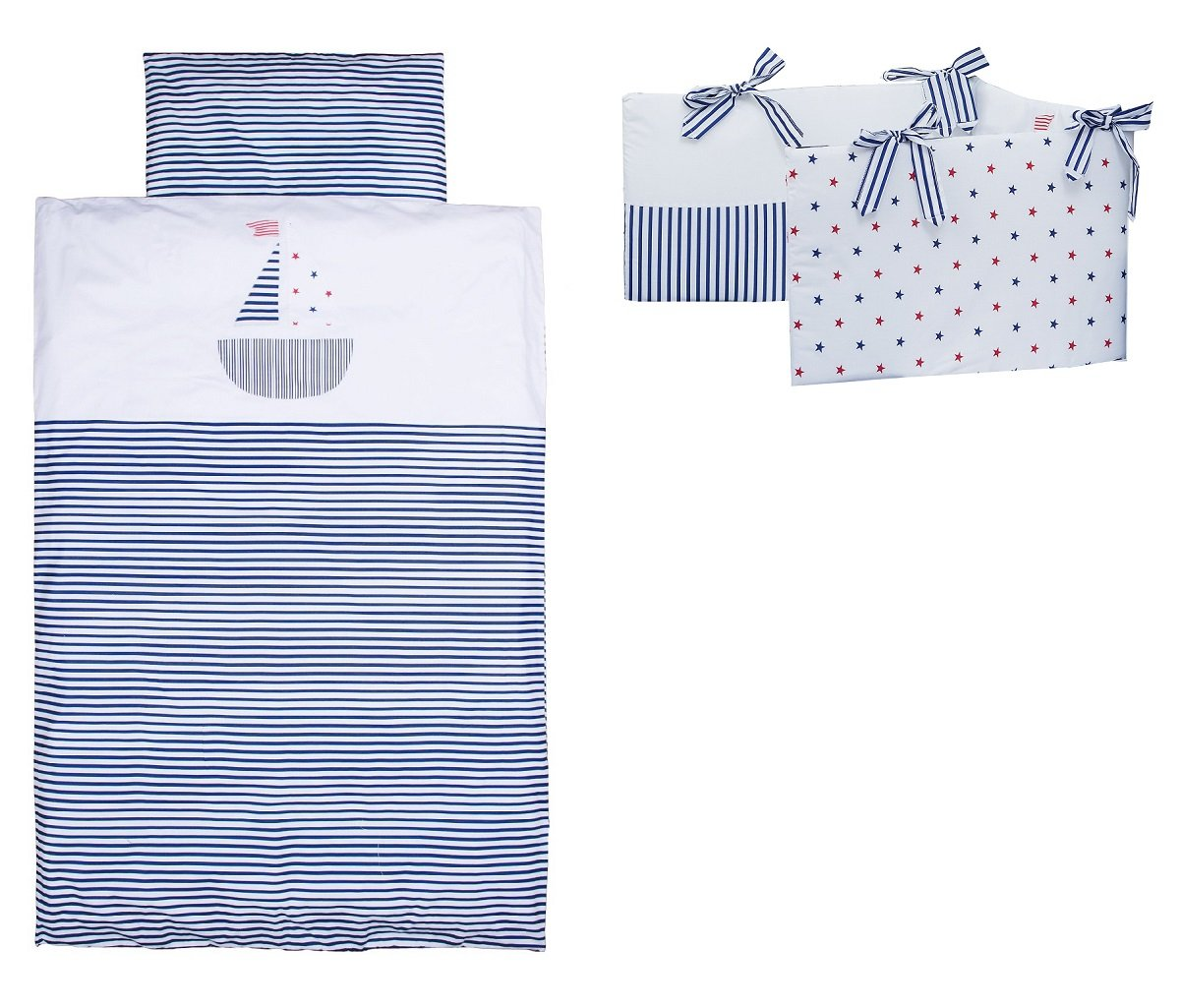 Vizaro - Cot Bumper, Duvet Cover (100x135cm) and Pillow Case - 3 Pieces Set for Cot Bed 70x140 cm - 100% Luxury Cotton - Made exclusively in the European Union, fabrics successfully tested for harmful substances - Collection Little Sailing Boat