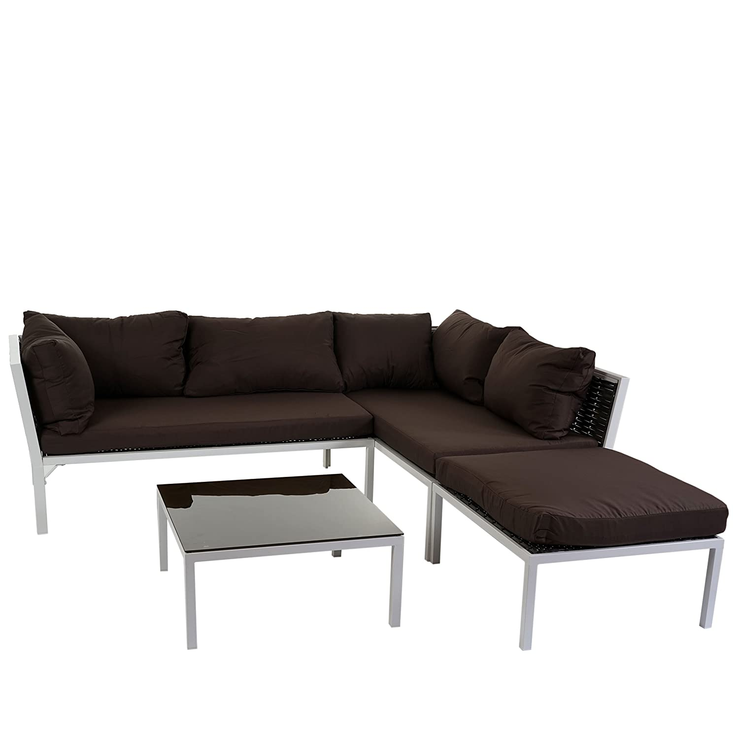 poly rattan sofa garnitur delphi sitzgruppe lounge set stahl set 1 kissen braun g nstig. Black Bedroom Furniture Sets. Home Design Ideas