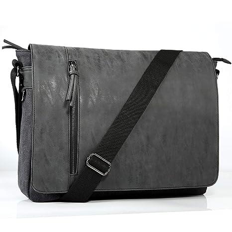 54a450bc7fa Laptop Messenger Bag for Men and Women,Tocode Vintage Canvas Messenger Bag  Waterproof PU Leather Large Crossbody Shoulder Bag Computer Laptop Bag Fits  ...