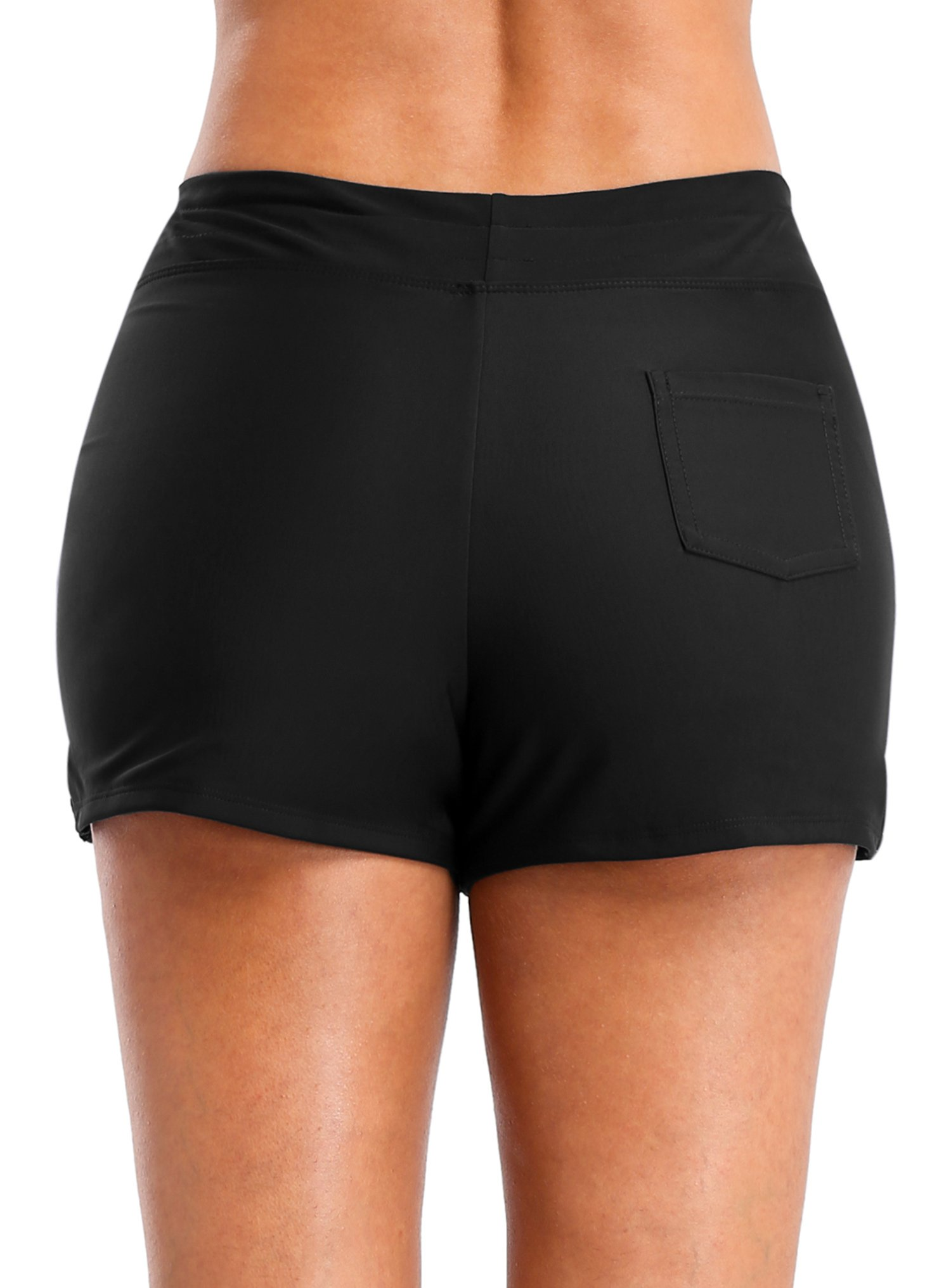 Vegatos Womens Solid Boardshorts Swimming Shorts Swim Bottoms Surfing Boyshorts Black by Vegatos (Image #5)