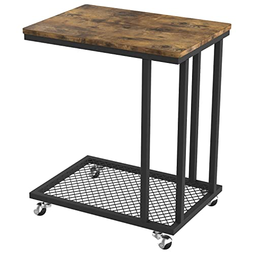 IRONCK Industrial Side Table Living Room, C Table on Wheels for Small Space, TV Tray Mobile Snack Sofa Table, Slides Next to Couch, Metal Frame Wood Look