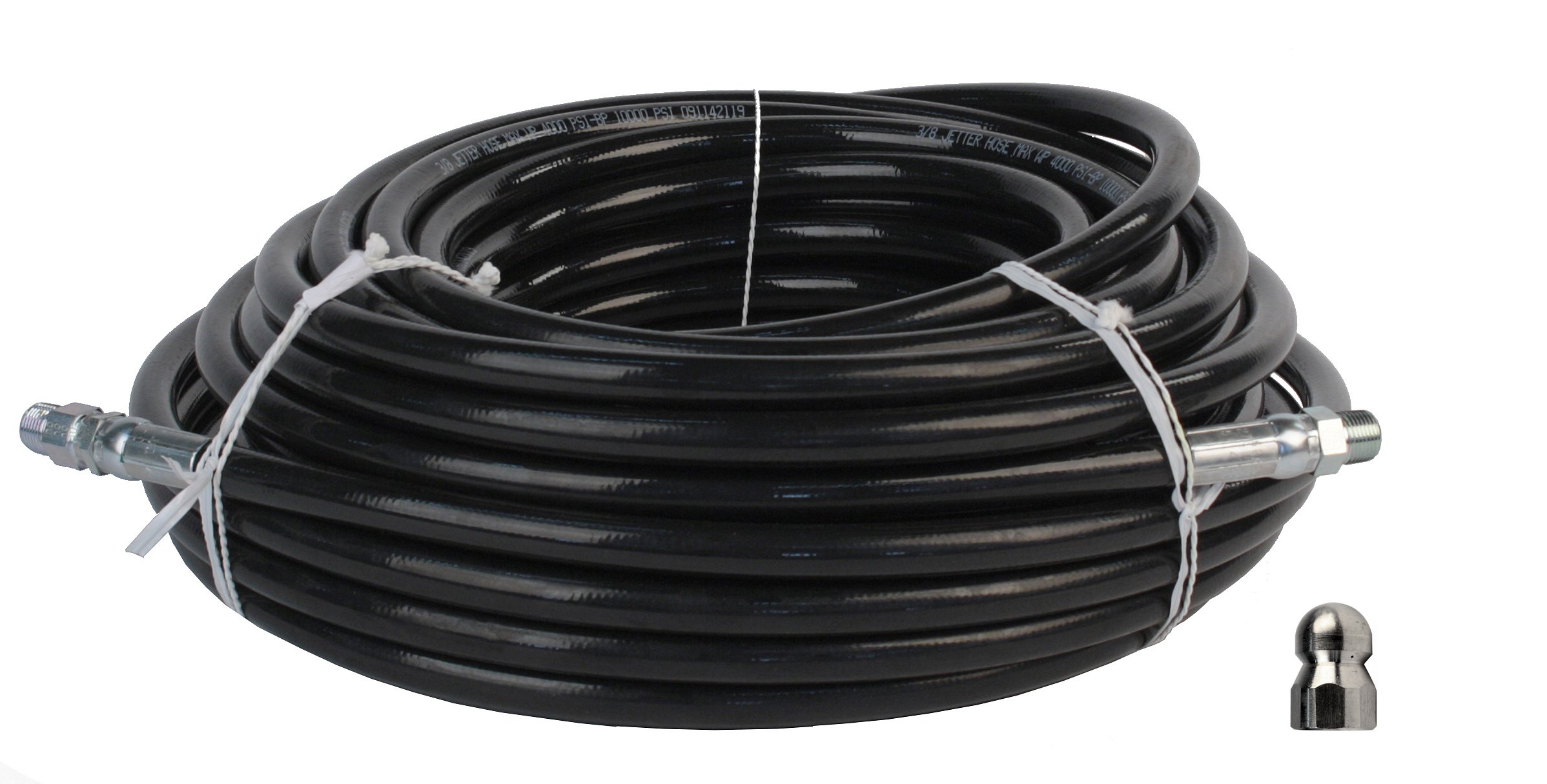 Schieffer 3/8'' x 100' 4000 PSI Thermoplastic Sewer Jetter Hose & Erie Tools Hydro 4.5 Orifice Button Nose Nozzle