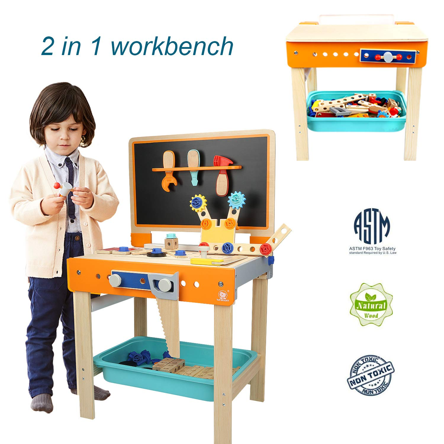 TOP BRIGHT Tool Bench Set Kids Toy Play Workbench for Toddler Workshop, Wooden Construction Bench for Boy Gifts 3 Year Old and Up by TOP BRIGHT (Image #1)