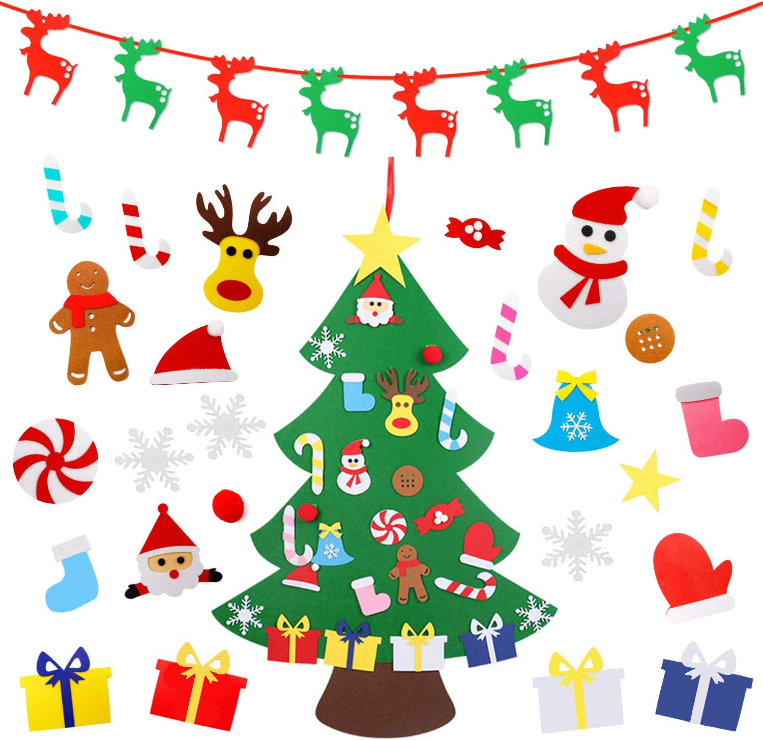 THREEMAO 3 3ft DIY Felt Christmas Tree with 34 Hanging Ornaments New Year Door Wall Hanging Decorations Christmas Decor or Kids Xmas Gifts