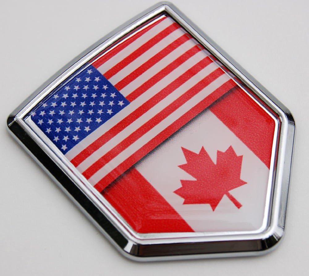 NEW 4 BIG WAVY CANADA COUNTRY FLAG METALLIC BUMPER STICKERS .