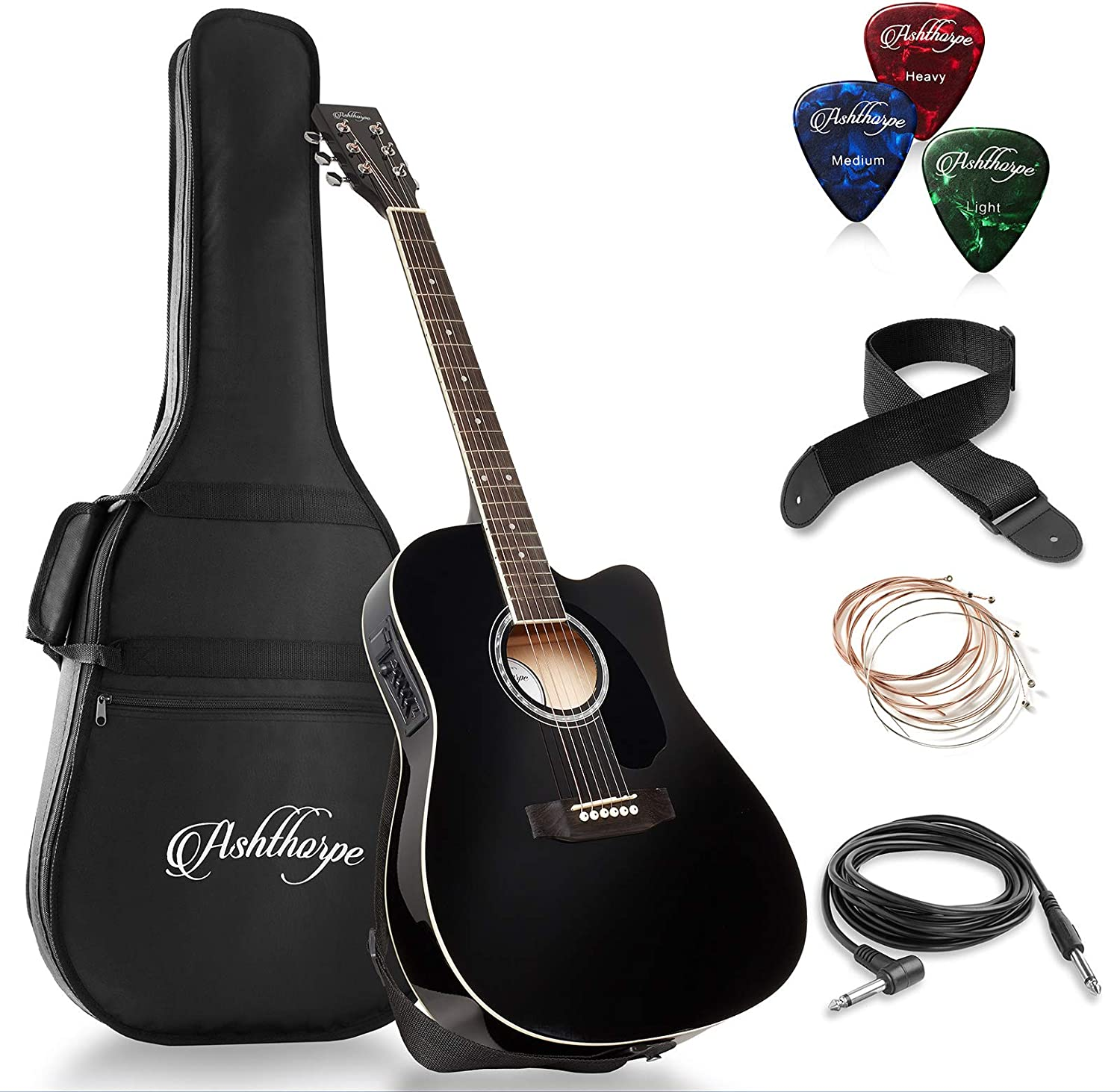 Ashthorpe Full-Size Cutaway Thinline Acoustic-Electric Guitar Package – Premium Tonewoods – Black