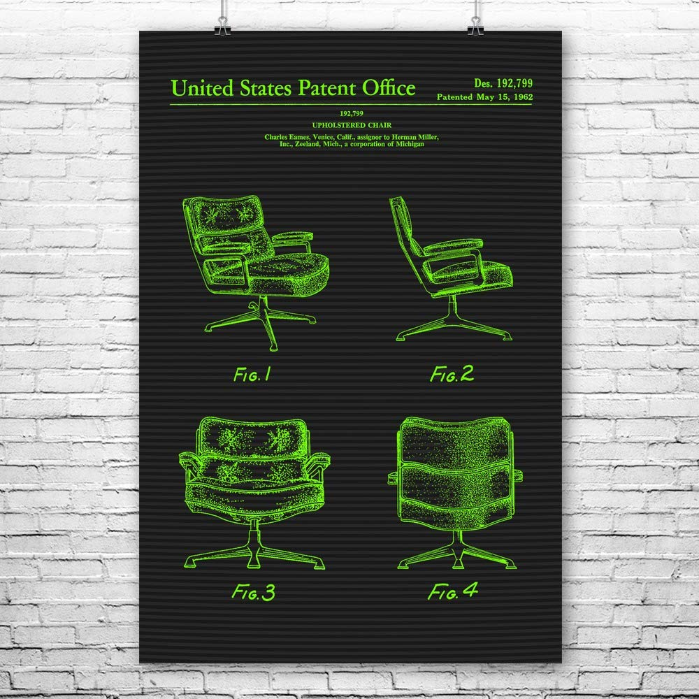 "Eames Office Chair Poster Art Print, Interior Decorator, Designer Gift, Executive Chair, Retro Furniture, Vintage Chair Terminal (18"" x 24"")"