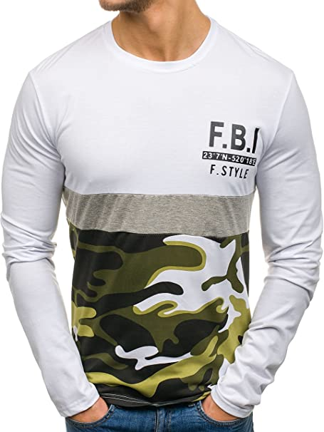 BOLF Hombre Camiseta De Manga Larga Escote Redondo Estilo Urbano 1A1 Motivo meEDxCXEz