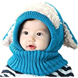 Baby Girls Boys Winter Hat Scarf Earflap Hood Scarves Caps (Blue)