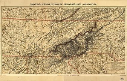 Amazon.com: 1864 map Mountain region of North Carolina and Tennessee ...