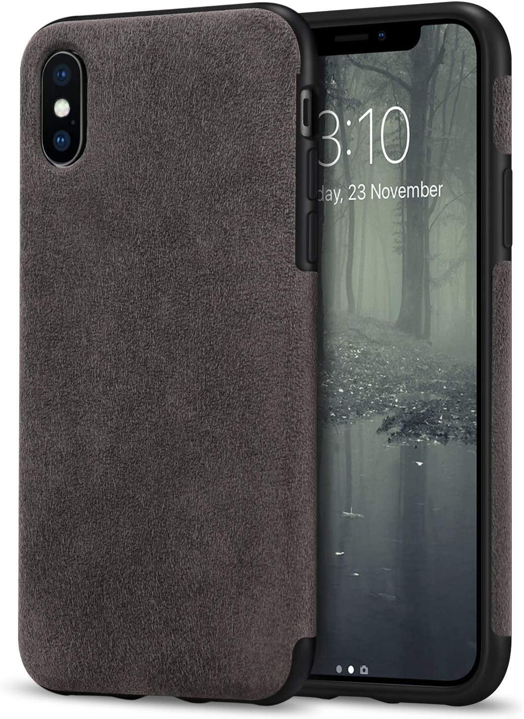 TENDLIN Compatible with iPhone Xs Max Case Premium Suede-Like Material Design Leather Hybrid Comfortable Grip Soft Cover Case Compatible with iPhone Xs Max (Brown)