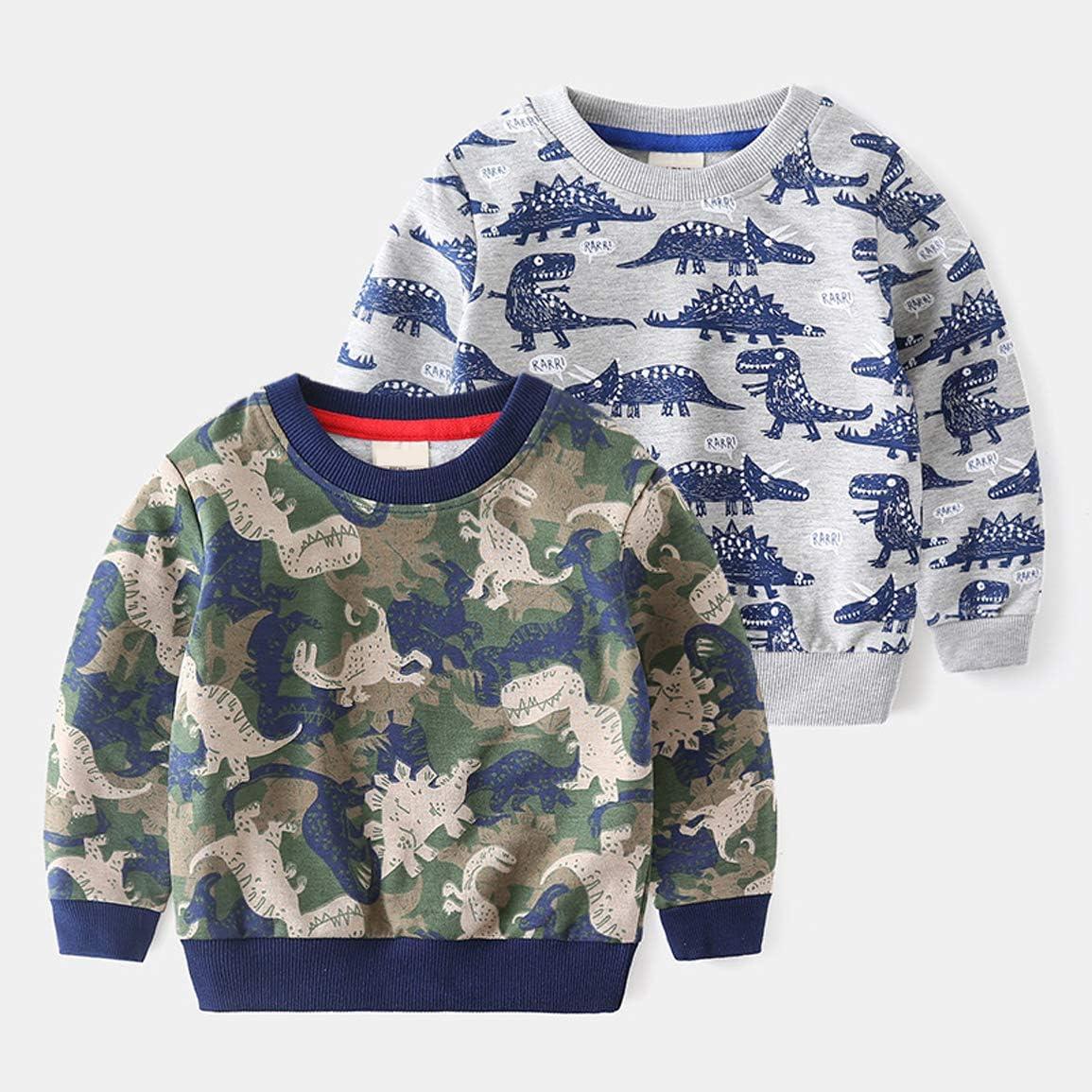 EISHOW Toddler Girls Boys Knit Sweater Cartoon Dinosaur Long Sleeve Round Neck Casual Pullover Sweatshirt Top for Kids