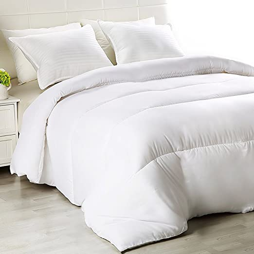 "Equinox Thin Duvet Insert (86""x 86"") - White, All Season Down Alternative Comforter Insert, Hypoallergenic, Soft, Plush Microfiber fill, Machine Washable, Queen Size"